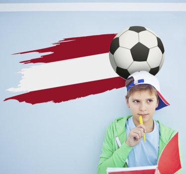 Einfach anzubringende dekorative wandaufkleber vinyl für teenager-raum mit einer flaggenpräsentation eines landes und eines fußballs gestaltet.