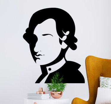 Buy our easy to apply music character art wall sticker of Mozart that is suitable to decorate any space in the home.You can also have it in any colour