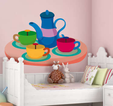 Kids Wall Stickers - Illustration of a tea set funfair ride.  Ideal for decorating areas for children. Available in various sizes.