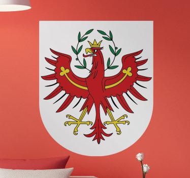 Ein wandtattoo mit landesflagge aus tirol mit allen funktionen, die das land symbolisieren. Geeignetes design für alle räume im haus.