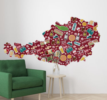 Einfach anzubringender wandtattoo einer österreichischen landkarte mit vielen funktionen wie getränken, orten, musik, sternen und vielem mehr, die glück und reisen beschreiben