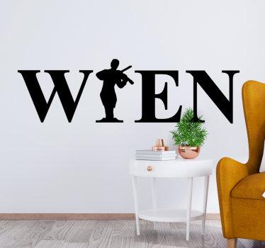 Musik Wall Art Sticker der wiener stadt musik erstellt mit text und einer wandkunst einer person, die ein instrument spielt. Sie können das design in jeder farbe haben.