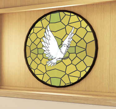 A decorative window vinyl decal for business meeting room designed with a glass stain text with a dove. You can also apply i on any window surface.