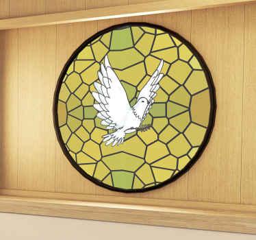 Ein dekorativer fenster-vinyl-aufkleber für einen geschäftstreffenraum, der mit einem glasfleckentext mit einer taube gestaltet wurde. Sie können i auch auf jede fensteroberfläche auftragen.