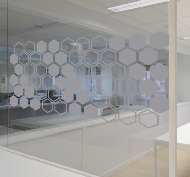 Easy to apply window vinyl sticker designed with translucent geometric hexagonal forms that you can apply on the window of business meeting room.