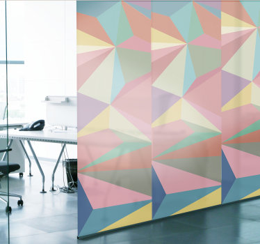 Buy our decorative window decal for your office space, its a design created with the appearance of an abstract geometry in multi colour.