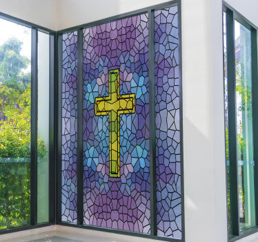 Easy to apply decorative glass stain of a holy cross window decal to beautify it, the design host a cross on a full geometric shape background.