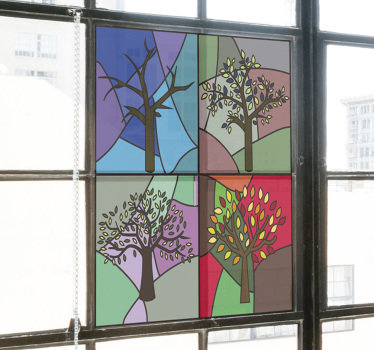 Easy to apply decorative window decal of glass stain season created with tree plants on a geometric colourful background.