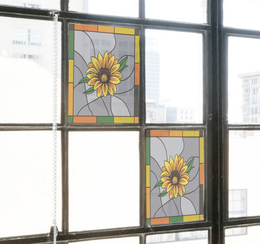 Easy to apply window decal of sunflower created on a square frame shape that you will love. You can use it on the kitchen space window.