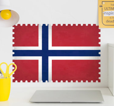 Et norsk flagg veggoverføringsbilde skapt med alle dets symboliske funksjoner og farger for å dekorere hjemmet ditt med stil. Du kan velge størrelsen du foretrekker.