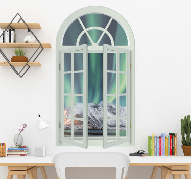 A visual effect wall location decal created with a window having view  of  a rock to describe nature on a green colour background that you will love.