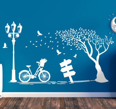 Easy to apply autumn wall art decal containing tree, bicycle and chair to enjoy the shade. You can have this design in any colour that you prefer.