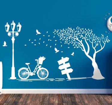 Gemakkelijk aan te brengen herfst muur art zelfklevende sticker met boom, fiets en stoel om van de schaduw te genieten. U kunt dit ontwerp in elke gewenste kleur hebben.