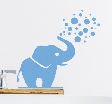 Easy to apply wall decal for bathroom created with an elephant with it trunk facing upward and blowing out bubbles. You can have it in any colour.