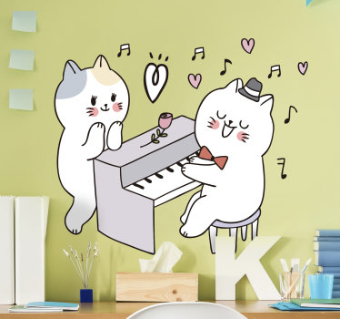 Easy to apply wall decal for kid's space created with two cats playing music with a piano and a rose by it side to show love for the child.