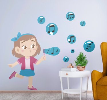 Easy to apply music wall  sticker for children created with music notes and a girl blowing these notes with excitement. Chose your preferred size.