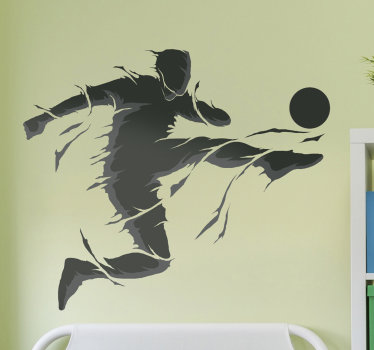 Buy our self adhesive and easy to apply football player wall decal of a person kicking a ball in an angle with passion and zeal.