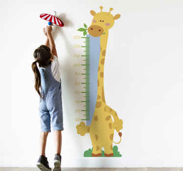 Easy to apply adhesive wall decal of height chat tape with giraffe for children to check the height of hoe they grow with fun .