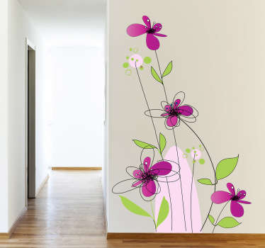 Güzel çiçekler duvar sticker illüstrasyon