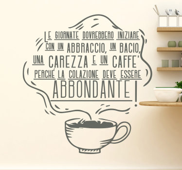 Sticker  cucina  con citazione sul caffè, facile da applicare, il design ha una tazza di caffè con un vapore enorme che ospita il contenuto del testo.