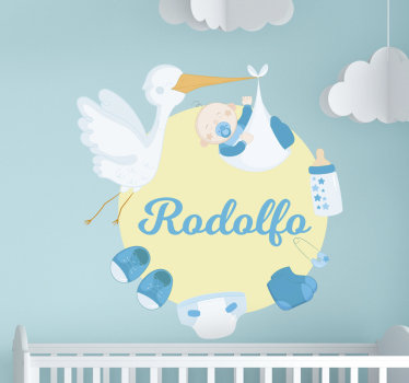 Decorate the room of infant with our baby nursery wall decal designed  with a baby protected by a bird, a diaper,shoes, pin and  pacifier on it.