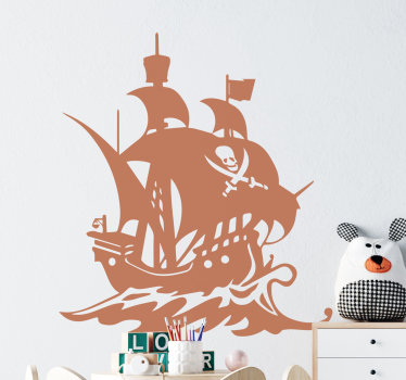 A decorative pirate ship illustration wall decal for children's room. On the design is a ship on the sea with all it features and a pirate symbol.