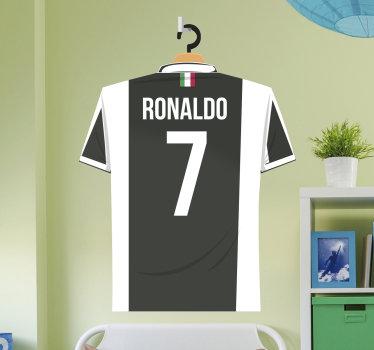 Vinil decorativo de futebol da t-shirt da Juventos, de um dos melhores jogadores de todos os tempos, o português, Cristiano Ronaldo.
