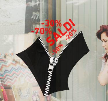 Acquista questa vetrofania zip per saldi negozio facile da applicare con sconti promozionali e un vestito con cerniera su di esso. Il design è il migliore per il negozio di tessuti.