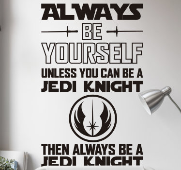 Easy to apply movie quote wall sticker of star war that has on it text, two slim sword and symbol that represent the movie.