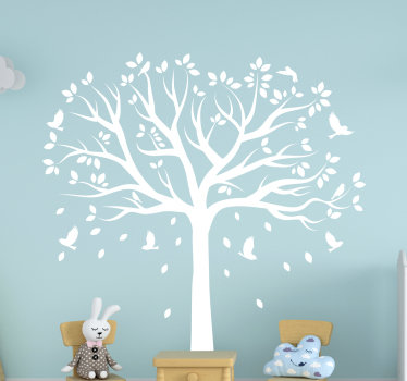 Easy to apply wall decal for kid's bedroom created with a tree with well spread branches and some little birds on it to shade the bedroom of a child.