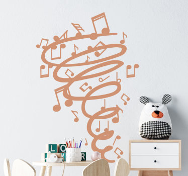 Easy to apply adhesive wall sticker for kids and teens room that is created with music notes and a twist in an upward expended direction.