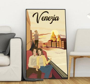 Facile da applicare adesivo  murale vintage locandina di Venezia che puoi applicare per decorare la casa o qualsiasi altro luogo per rappresentare il viaggio e l'avventura