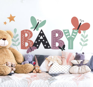 Easy to apply adhesive wall decal for baby nursery room designed with the text '' baby'' in multi colours with butterflies, flowers and stars.