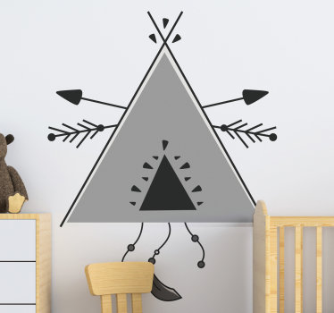 Decorative illustration wall decal for infants and kids created with a teepee tent in grey triangular pattern that will be nice to decorate the room.