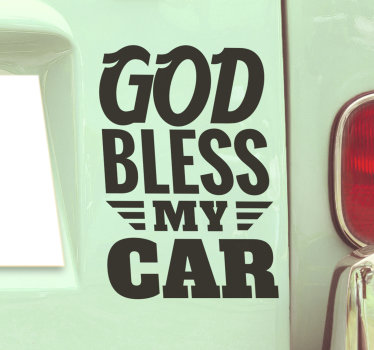 A decorative car window decal with text '' God bless my car'' that you can have in any colour and size of preference. Easy to apply on flat surface.