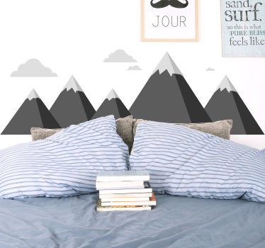 Decorative bedroom wall decal of the mountain and cloud appearance of Scandinavian with the base of the mountain in black and the peak in grey.