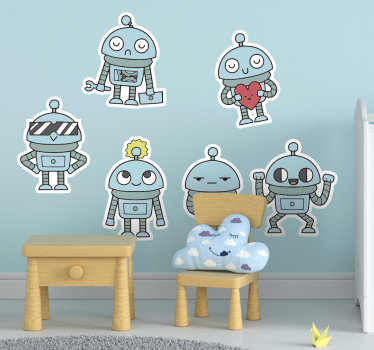 儿童卧室用胶粘剂墙乙烯基贴纸,由机器人组合设计,机器人以孩子会喜欢的不同姿势站立。