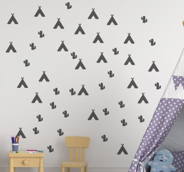 Easy to apply and decorative children wall decal design of a teepee and a cactus sheet. You can have this illustration wall decal in any colour.
