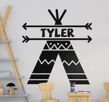 Easy to apply customisable name wall decal for kids created with a teepee tent with two arrows that holds the name in position.