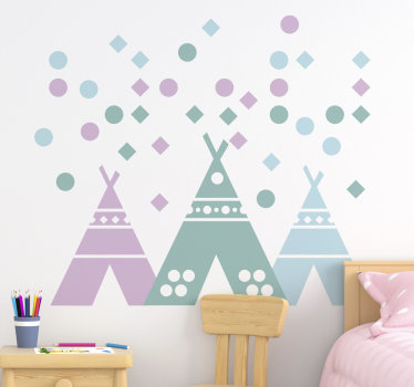 Illustrative wall decal for kids room designed with a teepee tent in pastel colours. With the design children can learn shapes, size and colours.