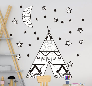 Decorative wall sticker for kids room designed with a teepee tent with the stars, moon and dots that create the appearance of an atmospheric space.