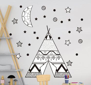 Dekorativer wandaufkleber für das kinderzimmer mit einem tipi-zelt mit sternen, mond und punkten, die das erscheinungsbild eines atmosphärischen raums schaffen.
