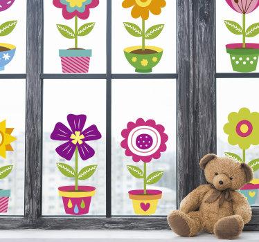Nasza łatwa do naklejenia naklejka na okna z kwiatami idealna do pokoju dziecięcego lub niemowlęcego. Projekt przedstawia różne kwiaty w kolorowych doniczkach.