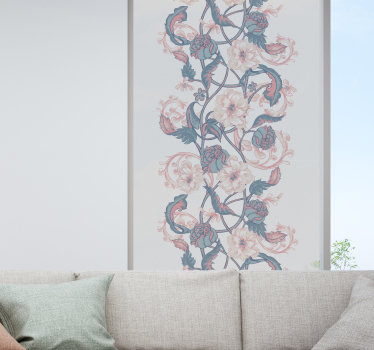 Easy to apply decorative window decal for dinning space created with beautiful intertwined pattern magnolia flower that will transform window look.