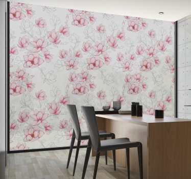 Decorate your window with our window vinyl decal of magnolia flower that is colourful on a translucent background to beautify the dinning space.