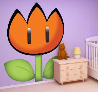 Adhesivo de dibujos animados de una flor de fuego del legendario videojuego Super Mario Bros. Decoración infantil original y divertida.