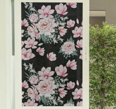 Vinilo adhesivo de flores para ventana translúcido con magnolias de color rosa sobre un fondo negro para embellecer su casa. Fácil de colocar.