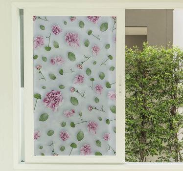 Unser einfach anzubringender fenster-vinyl-aufkleber, der mit blumen erstellt wurde, um das wohnzimmerfenster zu dekorieren und dem haus einen hauch von schönheit zu verleihen.