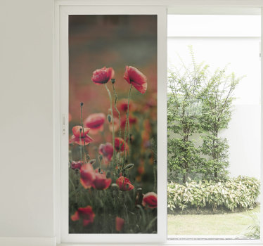Easy to apply window decal created from poppy plant in beautiful colour that will add nice touch to the living room window and the whole space.