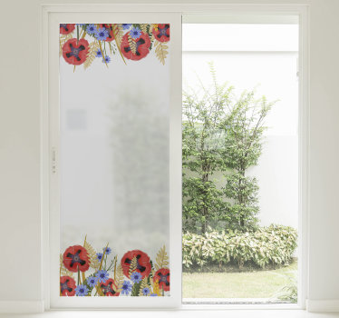 Easy to apply window frame decal created with a poppy plant in pretty colour that can applied on the surface of the living room window.